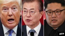 Dari kiri: Presiden Amerika Serikat Donald Trump, Presiden Korea Selatan Moon Jae-in, Pemimpin Korea Utara Kim Jong-un.