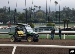 Investigators test the track surface at Santa Anita Park in Santa Anita, Calif., March 7, 2019. Santa Anita has canceled horse racing indefinitely to re-examine its dirt surface after the deaths of at least 27 horses since December.