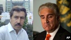 د پاکستان خارجه وزیر شاه محمود قریشي (ښی خوا)، د شکیل افریدي وکیل، قمر ندیم افریدی (کیڼ خوا)