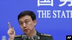 中國國防部發言人吳謙就發表國防白皮書見記者(美聯社2019年7月24日)