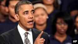 지난 15일 시카고에서 연설중인 바락 오바마 대통령. 당시 캘리포니아 법원에 동성결혼 금지법에 대한 반대 입장을 전달할 것이라고 밝혔다.