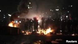 18일 브라질 상 파울로 거리의 시위 현장.