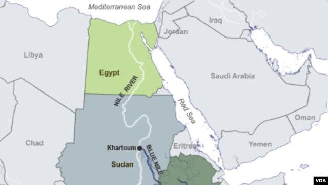 Peta negara-negara di Afrika yang dilalui aliran Sungai Nil.