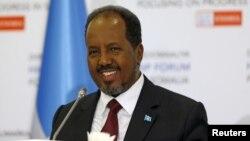 Le président somalien Hassan Cheikh Mohamoud lors d'une conférence de presse à Istanbul, Turquie, le 23 février 2016.
