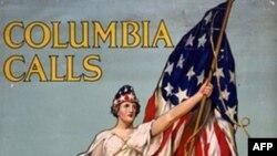 Мисс Колумбия призывает записываться в американскую армию – плакат времен Первой мировой войны