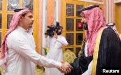Saudi Crown Prince Mohammed bin Salman meets with Khashoggi family in Riyadh, Saudi Arabia, Oct. 23, 2018.
