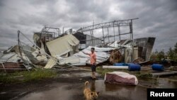 A dog walks past as a man stands in front of a factory building which was destroyed by Typhoon Rammasun, in Leizhou, Guangdong province, China, July 19, 2014.