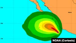 Área de influencia de la tormenta Dalila en el Pacífico mexicano.