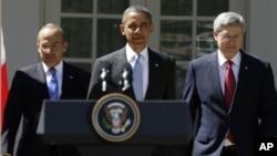 Los mandatarios del NAFTA, presidentes Calderón y Obana, y el primer ministro canadiense Harper ofrecieron conferencia de prensa.
