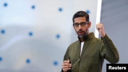 FILE - Google CEO Sundar Pichai speaks on stage during the annual Google I/O developers conference in Mountain View, California, May 8, 2018.