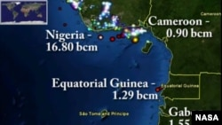 This map shows gas flare activity around Nigeria as of July 3, 2012.