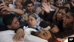 24일 팔레스타인 가자 지구에서 이스라엘의 공습으로 사망한 하마스 대원.
