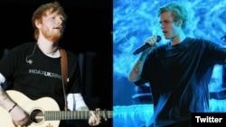 """Ed Sheeran (kiri) dan Justin Bieber saat merilis singel kolaborasi mereka """"I Don't Care"""". (Foto: dok)."""
