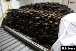 FILE - Weapons were seized from a stateless dhow which was intercepted by the Coastal Patrol ship USS Sirocco in the waters of the Arabian Sea on March 28, 2016.