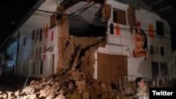 Edificio atingido pelo tremor, Peru, 26 de Maio.