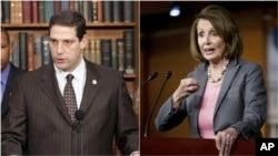 來自俄亥俄州的國會眾議員蒂姆·瑞安(左)與來自加州的南茜·佩洛西競爭眾議院少數黨領袖職位。
