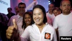 Capres Peru, Keiko Fujimori (depan) memenangkan pilpres putaran pertama (foto: dok).