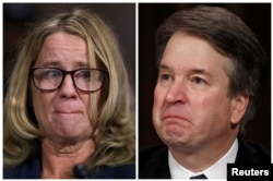 FILE - Professor Christine Blasey Ford and U.S. Supreme Court nominee Brett Kavanaugh (R), testify in this combination photo during a Senate Judiciary Committee confirmation, Sept. 27, 2018.
