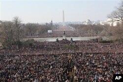 2009年1月20日在華盛頓舉行的奧巴馬總統的就職典禮上人潮洶湧