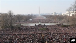 2009年1月20日在华盛顿举行的奥巴马总统的就职典礼上人潮汹涌