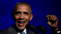 Tổng thống Barack Obama phát biểu tại lễ trao Giải thưởng Toner dành cho Đưa tin Chính trị Xuất sắc tại Washington, ngày 28/3/2016.