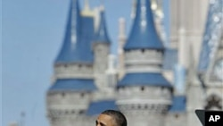 President Barack Obama speaks about tourism and travel, along Main Street USA at the Walt Disney World Resort in Lake Buena Vista, Florida, January 19, 2012.