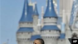 President Barack Obama speaks about tourism and travel, along Main Street USA at the Walt Disney World Resort in Lake Buena Vista, Florida, January 19, 2012.