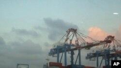 台灣高雄港的貨運港口(資料圖片)