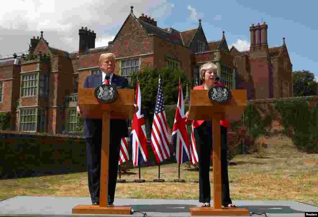 کنفرانس خبری مشترک پرزیدنت ترامپ و ترزا می نخست وزیر بریتانیا