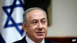 Perdana Menteri Israel Benjamin Netanyahu menghadiri rapat kabinet mingguan di Yerusalem, 22 Januari 2017.