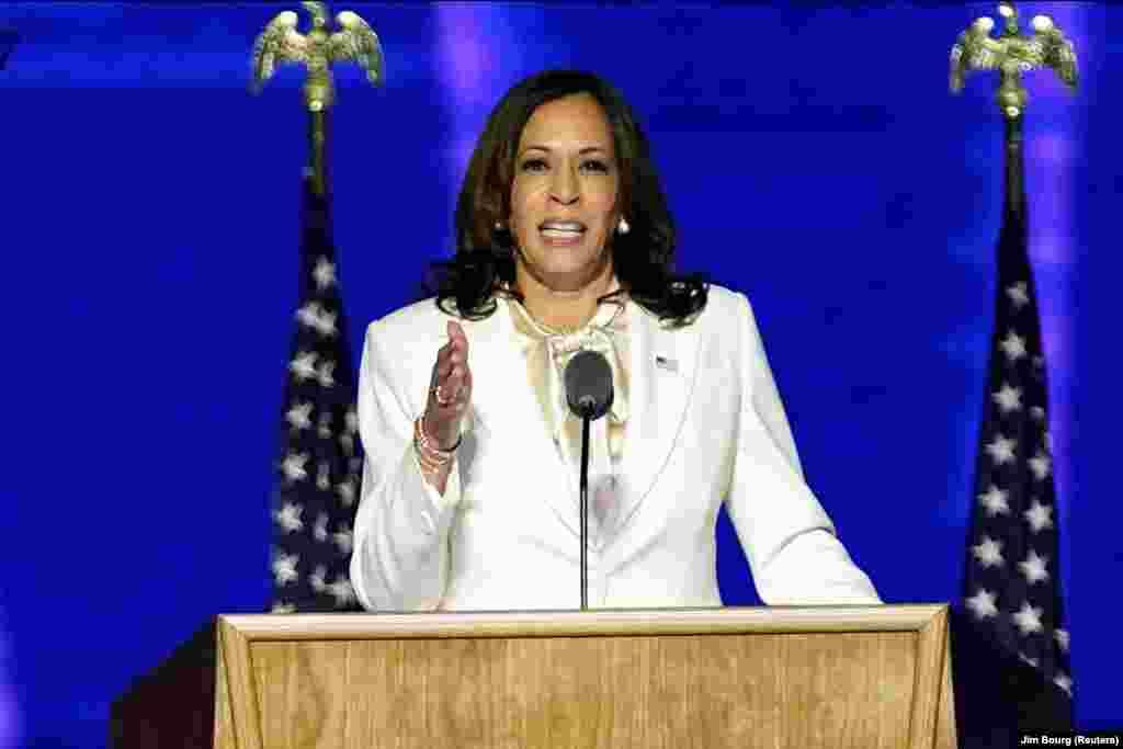 Камала Гарріс виступила перед прихильниками на мітингу в Делавері після того, як ЗМІ оголосили, що Джо Байден переміг у президентських перегонах 2020 року.
