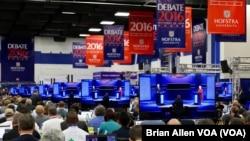 Vista general del primer debate presidencial entre Hillary Clinton y Donald Trump en la Universidad Hofstra, Nueva York.