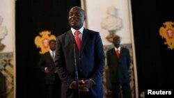 FILE - Guinea-Bissau's President Jose Mario Vaz in Lisbon, June 19, 2014.