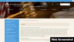 馬里蘭州弗雷德里克郡政府和法院的網頁截圖.