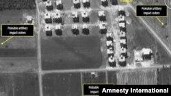 Impacto de artillería en Siria visto desde satélite (Amnistía Internacional).
