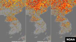 미국 국립해양대기청(NOAA)이 위성사진을 토대로 분석한 한반도 가뭄 지수(Drought index) 분포도의 최근 변화. 4월 마지막주(왼쪽)에서 5월 첫주(가운데), 5월 둘째주로 시간이 지나면서 가뭄이 확산되는 것을 알 수 있다. 가뭄의 정도에 따라 '중간'과 '높음', '심각' 수준을 각각 노란색, 빨간색, 검붉은색으로 표시했다.