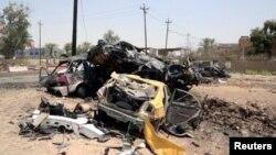 Hiện trường vụ đánh bom xe tự sát tại Khalis, Iraq, ngày 25/7/2016.