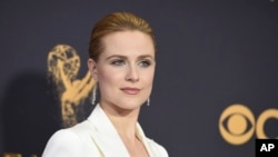 FILE - Evan Rachel Wood arrives at the 69th Primetime Emmy Awards in Los Angeles, Sept. 17, 2017.