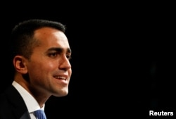 5-Star Movement leader Luigi Di Maio speaks during a political rally in Naples, Italy, February 12, 2018.