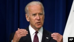 FILE - Vice President Joe Biden speaks in the South Court Auditorium on the White House campus in Washington, June 16, 2015. Biden appears to be seriously weighing another run for the Democratic presidential nomination as he explores his prospects.