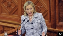 US Secretary of State Hillary Clinton delivers her speech, during the inauguration of the Tom Lantos Institute, at the Hungarian Parliament building, in Budapest, Hungary, June 30, 2011