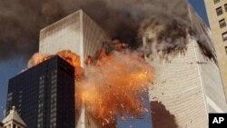 ເຮືອບິນສອງລຳ ໄດ້ບິນເຂົ້າຕຳຕຶກແຝດ World Trade Center ທີ່ ນະຄອນນິວຢອກ ໃນວັນທີ 11 ເດືອນກັນຍາ ປີ 2001.