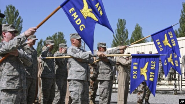 US servicemen attend a change of command ceremony at Manas Air Base near Kyrgyzstan's capital Bishkek, June 2009. (file photo)