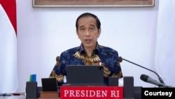 Presiden Jokowi dalam Ratas di Istana Kepresidenan , Jakarta, Senin (6/9) mengatakan pemerintah mewaspadai varian baru Corona, Varian Mu agar tidak masuk ke Indonesia (biro Setpres)