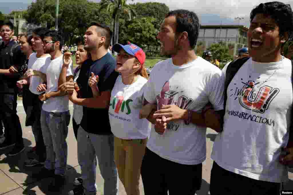 تظاهرات دانشجویی علیه دولت نیکلاس مادورو، رئیس جمهور ونزوئلا در کاراکاس، پایتخت.