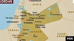 Peta wilayah Suriah, perbatasan Jordan dan Israel