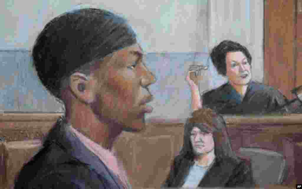 In this courtroom drawing, Umar Farouk Abdulmutallab appears in U.S. District Judge Nancy Edmunds' courtroom in Detroit, Tuesday, Oct. 4, 2011. Jury selection in the trial of the Nigerian man accused of trying to bring down a jetliner with a bomb in his u