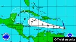 Trayectoria esperada de la tormenta tropical Ernesto.