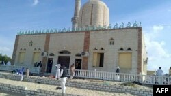 View of the Rawda mosque, roughly 40 kilometers west of the North Sinai capital of El-Arish, following a gun and bombing attack, on Nov. 24, 2017.