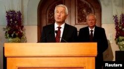 Predsednik Norveškog Nobelovog komiteta Torbjorn Jagland prilikom objavljivanja dobitnika ovogodišnje Nobelove nagrade za mir